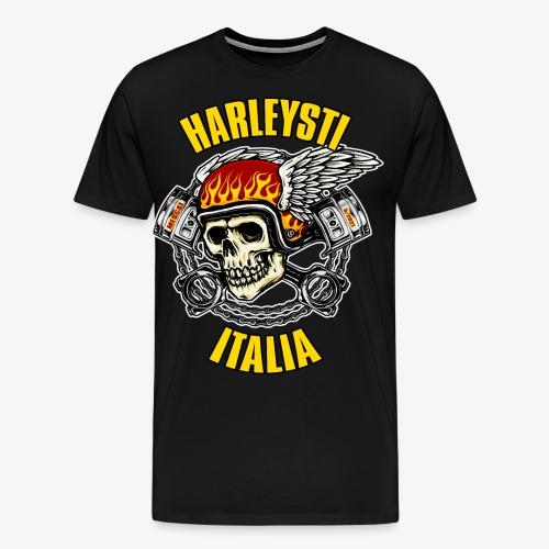 Teschio Fiamme Ali Pistoni - Bikers e Motociclisti - Maglietta Premium da uomo