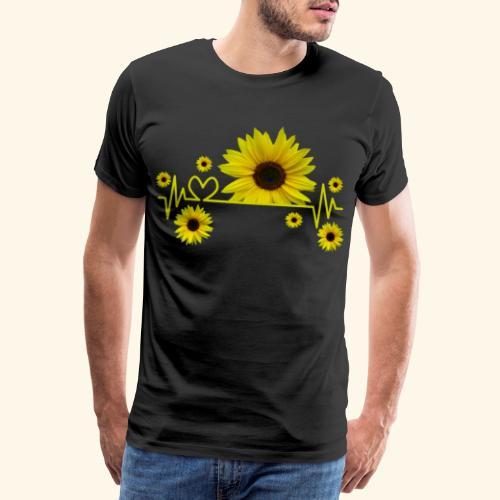 Sonnenblumen, Sonnenblume, Herzschlag, Herz, Blume - Männer Premium T-Shirt