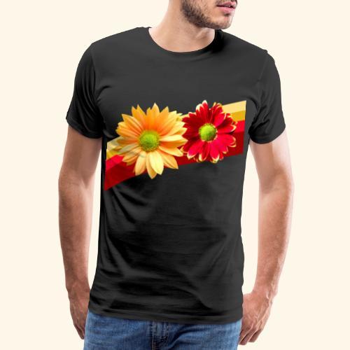 Blumen in den Farben rot und gelb, Blüten, floral - Männer Premium T-Shirt