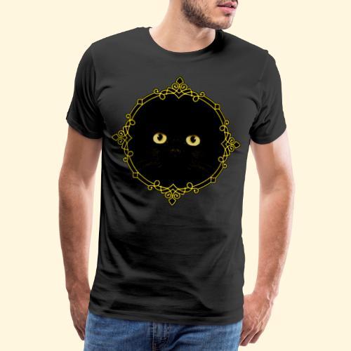 Badge Chat Noir - Pixel Art - T-shirt Premium Homme