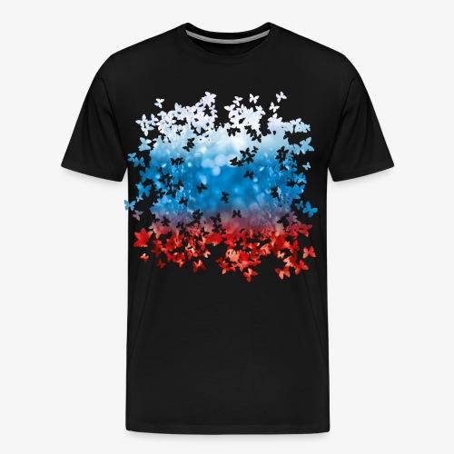 06 Russland Flagge Fahne Russia Schmetterlinge - Männer Premium T-Shirt