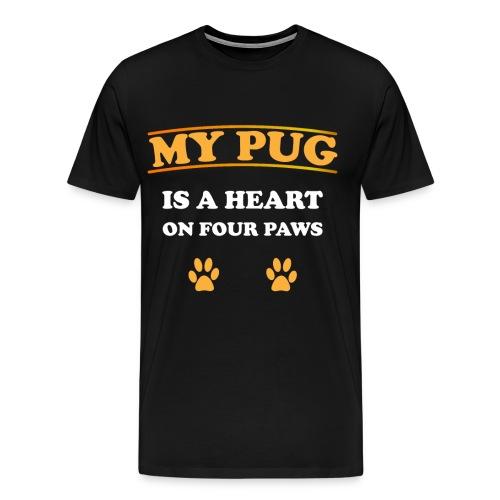 My Pug is a heart on four paws   Mops Liebe Pfoten - Männer Premium T-Shirt