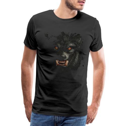 Wolf Werwolf Zähne böse Reißzähne Halloween Rudel - Männer Premium T-Shirt
