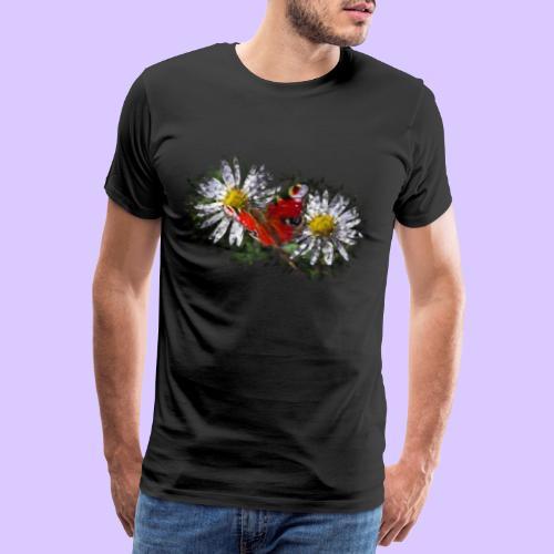 zwei Gänseblümchen mit einem Schmetterling - Männer Premium T-Shirt
