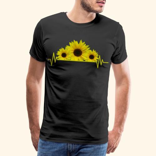 Sonnenblumen Herzschlag Sonnenblume Blumen Blüten - Männer Premium T-Shirt