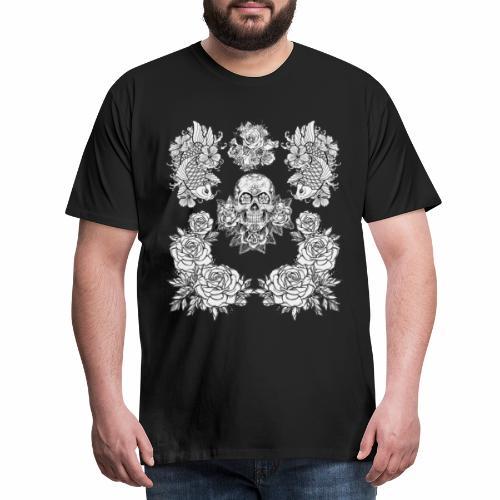 Tête de mort avec rose et carpe Koï - T-shirt Premium Homme