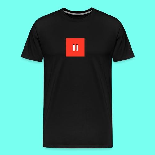 Red Background White Pause W/Shadow - Men's Premium T-Shirt