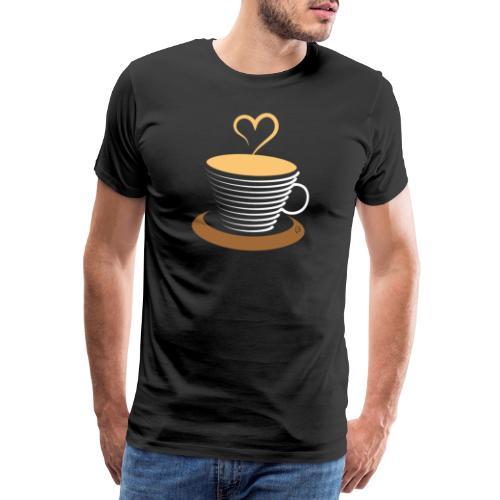 0252 Coffee   Love   Heart   Cup   coffee pot - Men's Premium T-Shirt