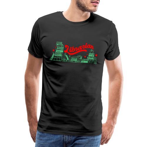 0322 Stack of books Librarian bookshelf - Men's Premium T-Shirt