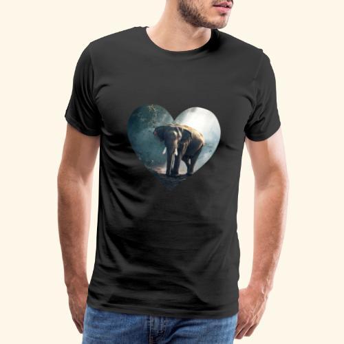 Elefant im Herz zum Tierschutz - Männer Premium T-Shirt