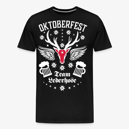03 Oktoberfest Hirsch Bier Team Lederhose Bayern - Männer Premium T-Shirt