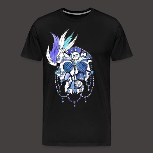 CRANE DENTELLE BLEU FOND NOIR - T-shirt Premium Homme