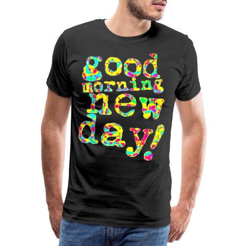 good morning new day yellow and red - Mannen Premium T-shirt