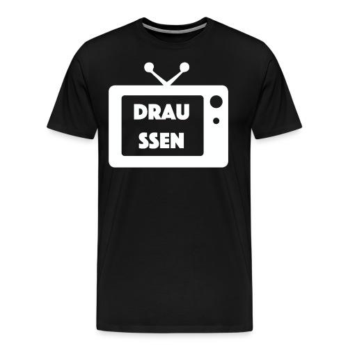 Draussen TV (WEIßE SCHRIFT) - Männer Premium T-Shirt