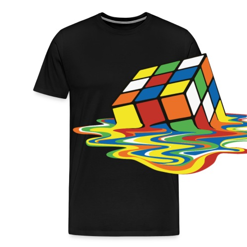 Rubik's Cube Melted Colourful Puddle - Premium T-skjorte for menn