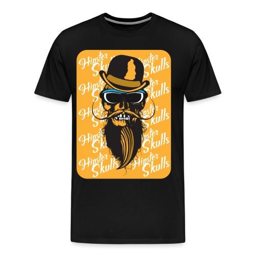 tete de mort crane hipster skull barbu moustache c - T-shirt Premium Homme