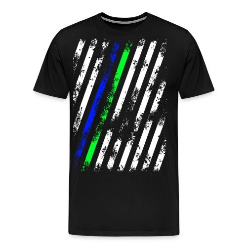 Stripes Weiß Blau Grün - Männer Premium T-Shirt