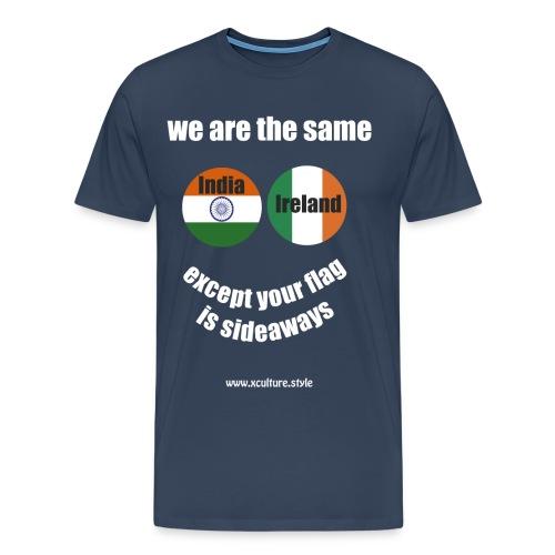 india ireland circles white text png - Men's Premium T-Shirt