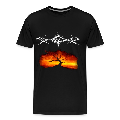 Silhouette of tree with logo white png - Men's Premium T-Shirt