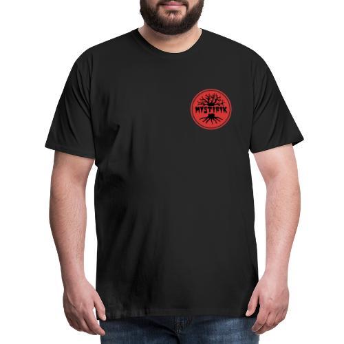 sort logo på rød baggrund med rød ring - Herre premium T-shirt