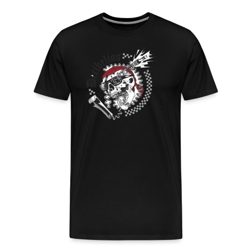 skull logo trans letras negras - Camiseta premium hombre