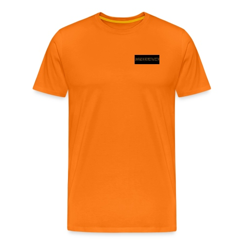 orange writing on black - Men's Premium T-Shirt