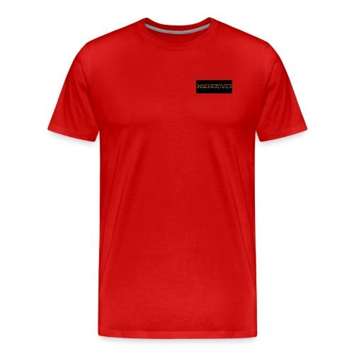 orange writing on black - Men's Premium T-Shirt