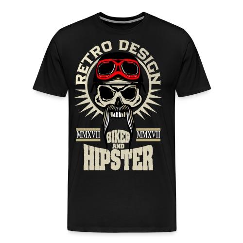 tete de mort hipster biker skull crane motard lune - T-shirt Premium Homme