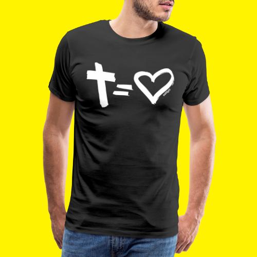 Cross = Heart WHITE // Cross = Love WHITE - Men's Premium T-Shirt
