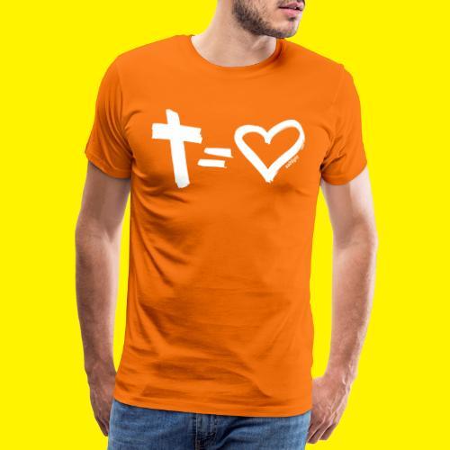 Cross = Heart WHITE // Cross = Love WHITE - Men's Premium T-Shirt