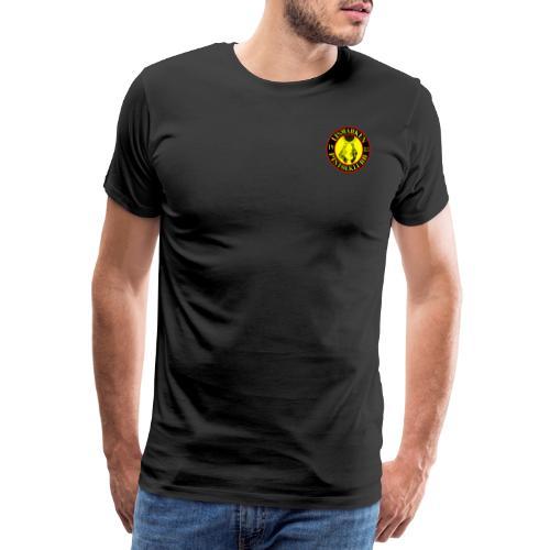 liten logo + nettadresse - Premium T-skjorte for menn