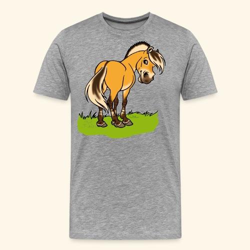 Freundliches Fjordpferd (Ohne Text) Weisse Umrisse - T-shirt Premium Homme