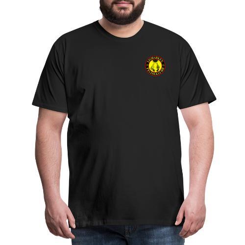 liten logo + stor logo med nettadresse - Premium T-skjorte for menn
