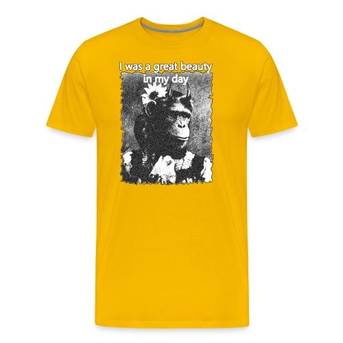 Funny Chimpanzee Old Age Joke Design - Men's Premium T-Shirt