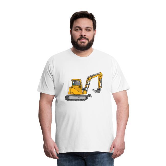 BAGGER, gelbe Baumaschine mit Schaufel und Ketten