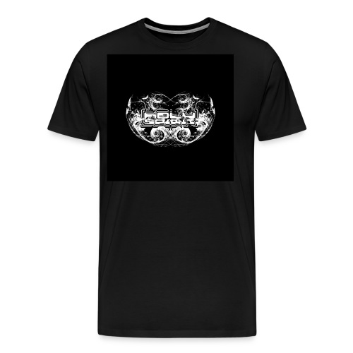 Holy Spirit Fractal 2 White On Black Trippy Text - Men's Premium T-Shirt