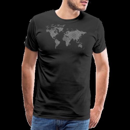 Go find yourself Weltkarte mit Mandala Weiß - Männer Premium T-Shirt