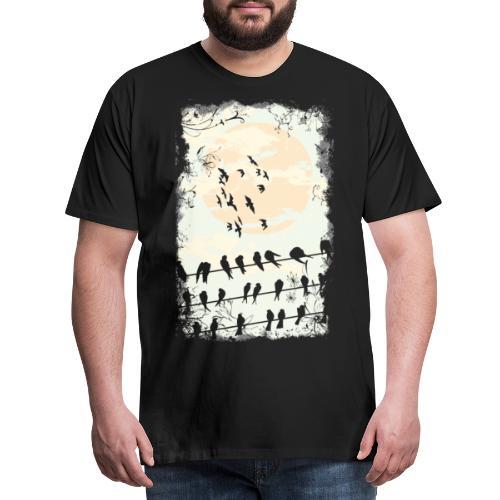fliegende Raben bei Vollmond - Männer Premium T-Shirt
