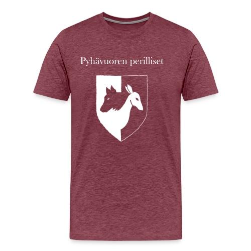Pyhävuoren perilliset häälogo+teksti - Miesten premium t-paita