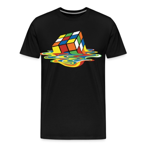 Rubik's Cube Melted Colourful Puddle - Herre premium T-shirt