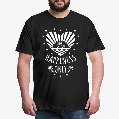 132 Happiness Only Herz Sonne Palmen - Männer Premium T-Shirt