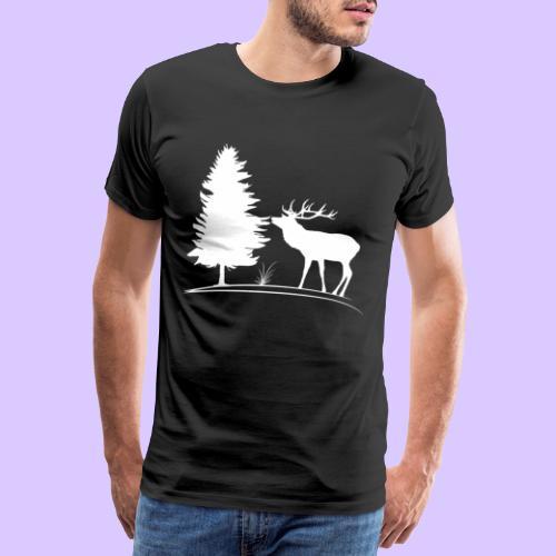 Hirsch, Geweih, Rehbock, Jagd, Wald, Baum, Wild - Männer Premium T-Shirt