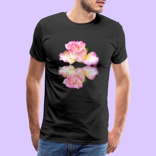 pinke Rose mit Regentropfen im Spiegel, rosa Rosen - Männer Premium T-Shirt