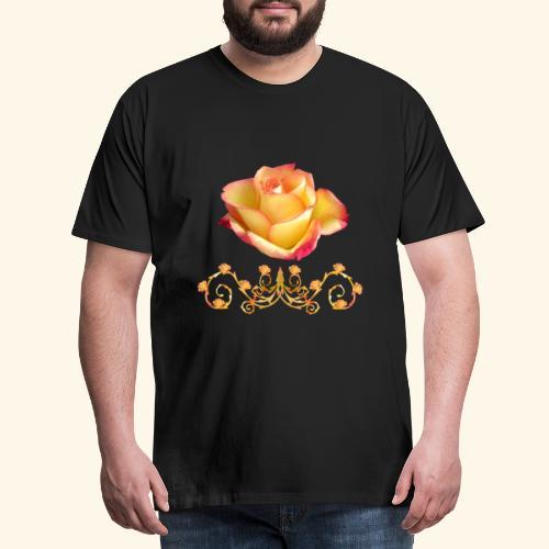 orange Rose, Ornament, Rosen, Blumen, Blüten, edel - Männer Premium T-Shirt
