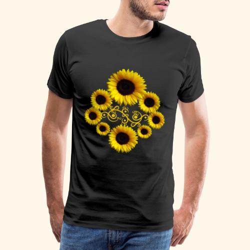 Sonnenblumen mit Ornament, Sonnenblume, Blumen - Männer Premium T-Shirt