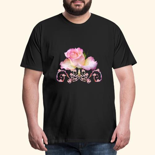Rose pink, Ornament, Rosen, Blumen, Blüten, floral - Männer Premium T-Shirt