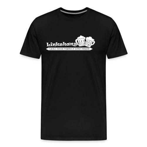 Linkshangendj Logo Wit - Mannen Premium T-shirt