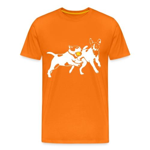 Playing Jack Russell terriers - Miesten premium t-paita