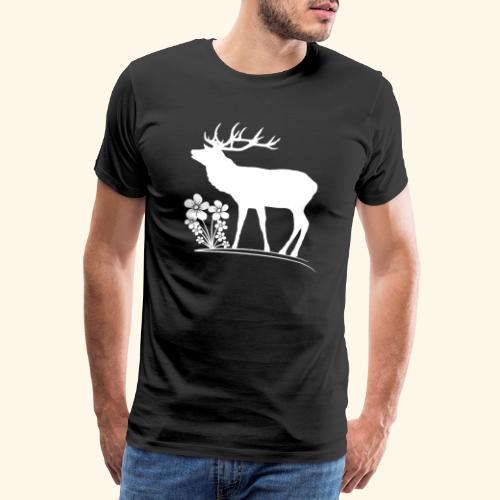 wilder Hirsch mit Blumen, Tiere, Reh, Hirsche - Männer Premium T-Shirt