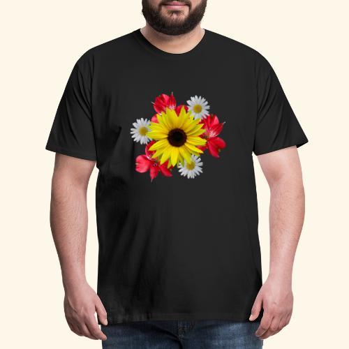 Blumenstrauß, Sonnenblume, Margeriten, rote Blumen - Männer Premium T-Shirt